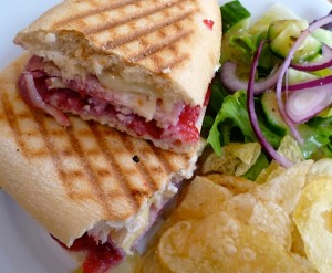Toasted Panini served with side salad and hand cut crisps